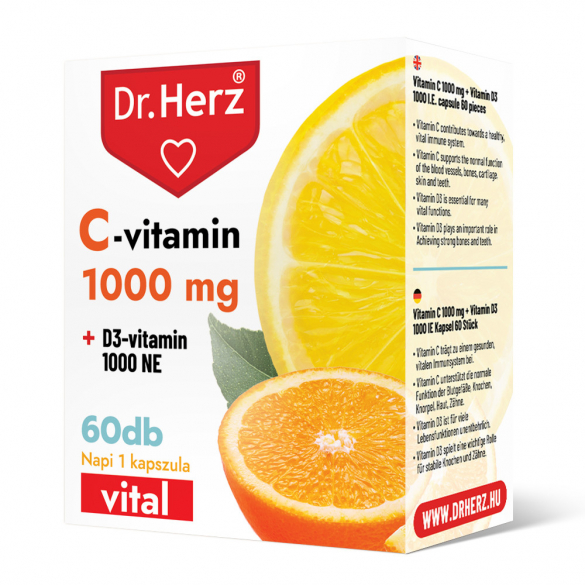 DR Herz C-vitamin 1000 mg + D3-vitamin 1000 NE 60 db kapszula doboz
