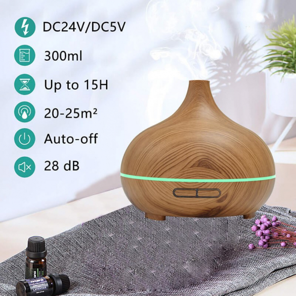 Aroma diffúzor + LED 300ml X131 fa hatású