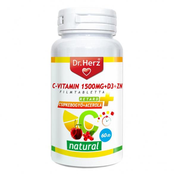 DR Herz C-vitamin 1500mg+D3+Zn csipkebogyóval és acerola kivonattal 60 db tabletta